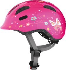 Abus Smiley Bicycle helmet for kids, Pink Butterfly, side view
