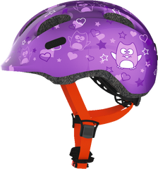 Abus Smiley Bicycle helmet for kids, Purple Star, side view