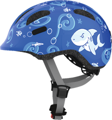 Abus Smiley Bicycle helmet for kids, Blue Sharky, side view