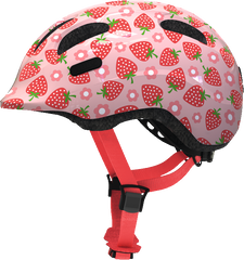 Abus Smiley Bicycle helmet for kids, Rose Strawberry, side view