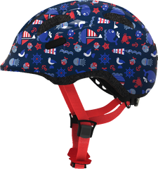 Abus Smiley Bicycle helmet for kids, Blue Maritim, side view