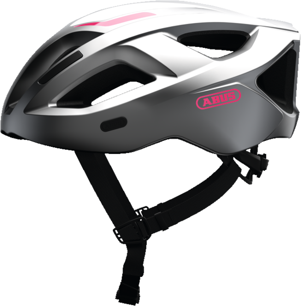 abus aduro 2.1 bicycle helmet in silver, side view