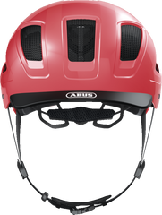 Abus Hyban 2.0 Urban Commuting bicycle helmet in Living Coral colour, front view