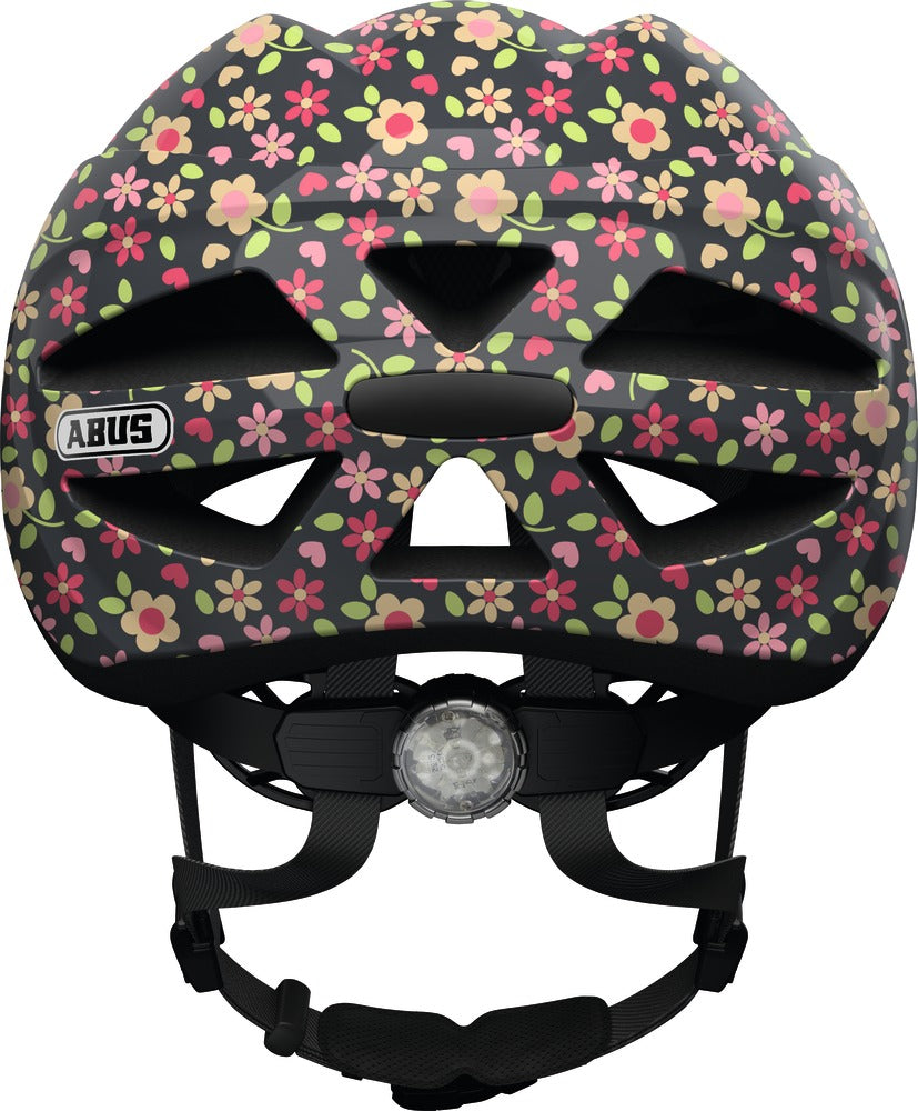 abus hubble 1.1 kids helmet retro flower rear view