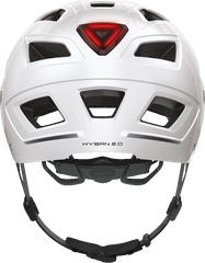 Abus Hyban 2.0 Urban Commuting bicycle helmet in Polar White, rear view