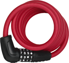 ABUS Numero 5510C Spiral Cable Lock with 4-digit Combination for Bicycles, in colour Red