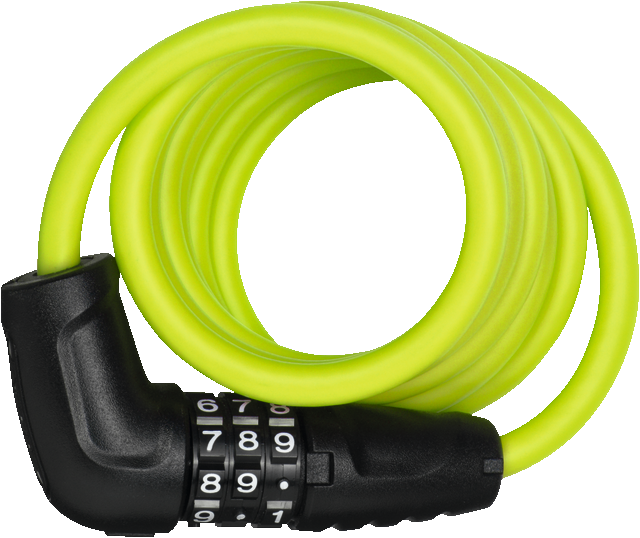 Abus 4508C spiral coil lock with combination code in lime