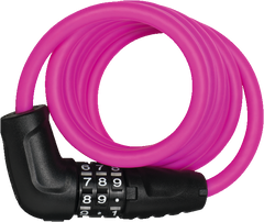 Abus 4508C spiral coil lock with combination code in pink