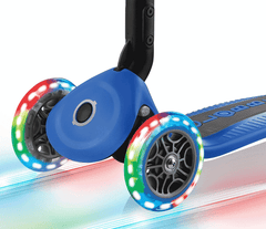 Close up of LED light up wheels on the Globber Primo Foldable Light 3 wheel scooter
