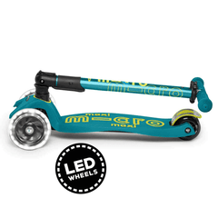 Maxi Micro 3 wheel foldable kick scooter with LED wheels, Petrol Green, Folded view