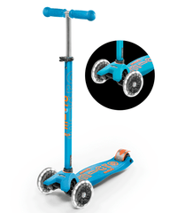 maxi micro deluxe LED three wheel kick scooter, caribbean blue, 3 quarter view