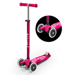 maxi micro deluxe LED three wheel kick scooter, pink, 3 quarter view