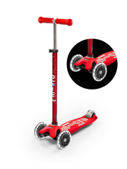 maxi micro deluxe LED three wheel kick scooter, red, 3 quarter view