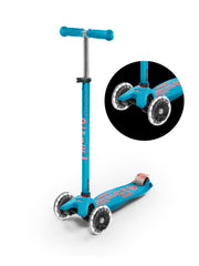 maxi micro deluxe LED three wheel kick scooter, aqua, 3 quarter view