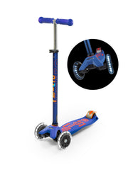 maxi micro deluxe LED three wheel kick scooter, blue, 3 quarter view