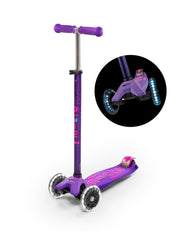 maxi micro deluxe LED three wheel kick scooter, purple, 3 quarter view