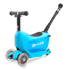 Micro Mini2go 3 wheel kick scooter with seat for kids, in blue