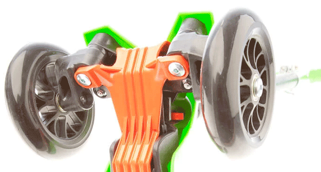 lean-to-steer mechanism of the maxi micro 3 wheel kick scooter for kids