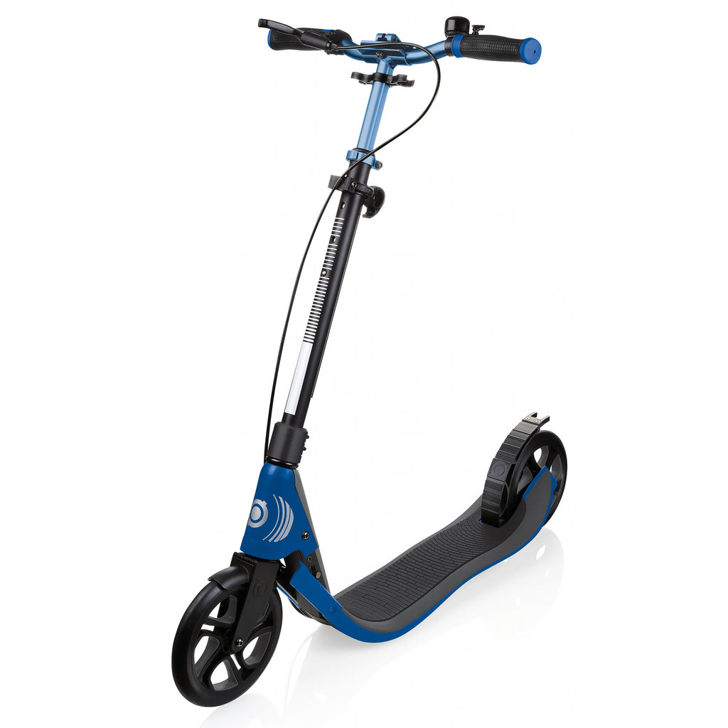Globber ONE NL 205 Deluxe Kick Scooter with Handbrakes, Navy Blue in half-folded mode