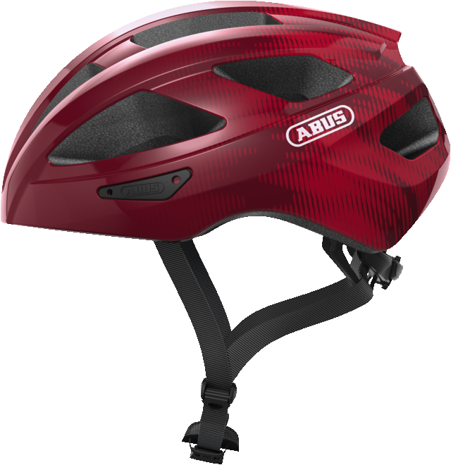 Abus Macator Bicycle helmet in bordeaux red, view from the side