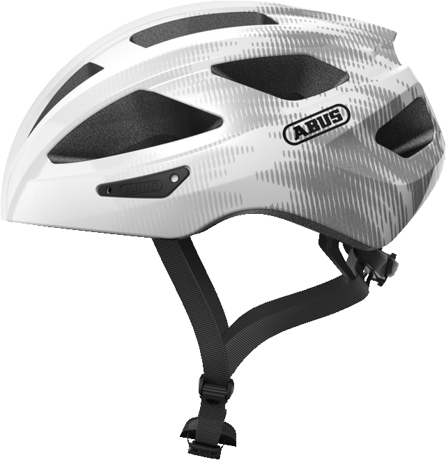 Abus Macator Bicycle helmet silver white, view from the side