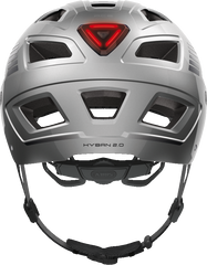 Abus Hyban 2.0 Urban Commuting bicycle helmet in Signal Silver, rear view