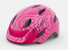 giro scamp bicycle helmet for youth children kids in bright pink/pearl colour, 3 quarter view