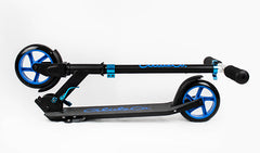Glideco CityZipper145 kick scooter in Black/Blue, folded view