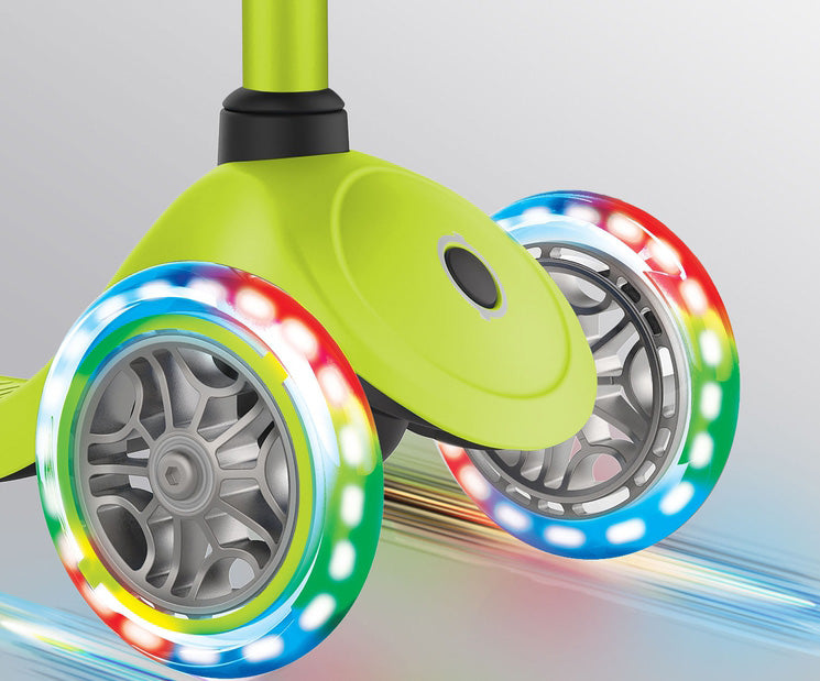 the multi-colour LED wheels on this kick scooter does not need batteries