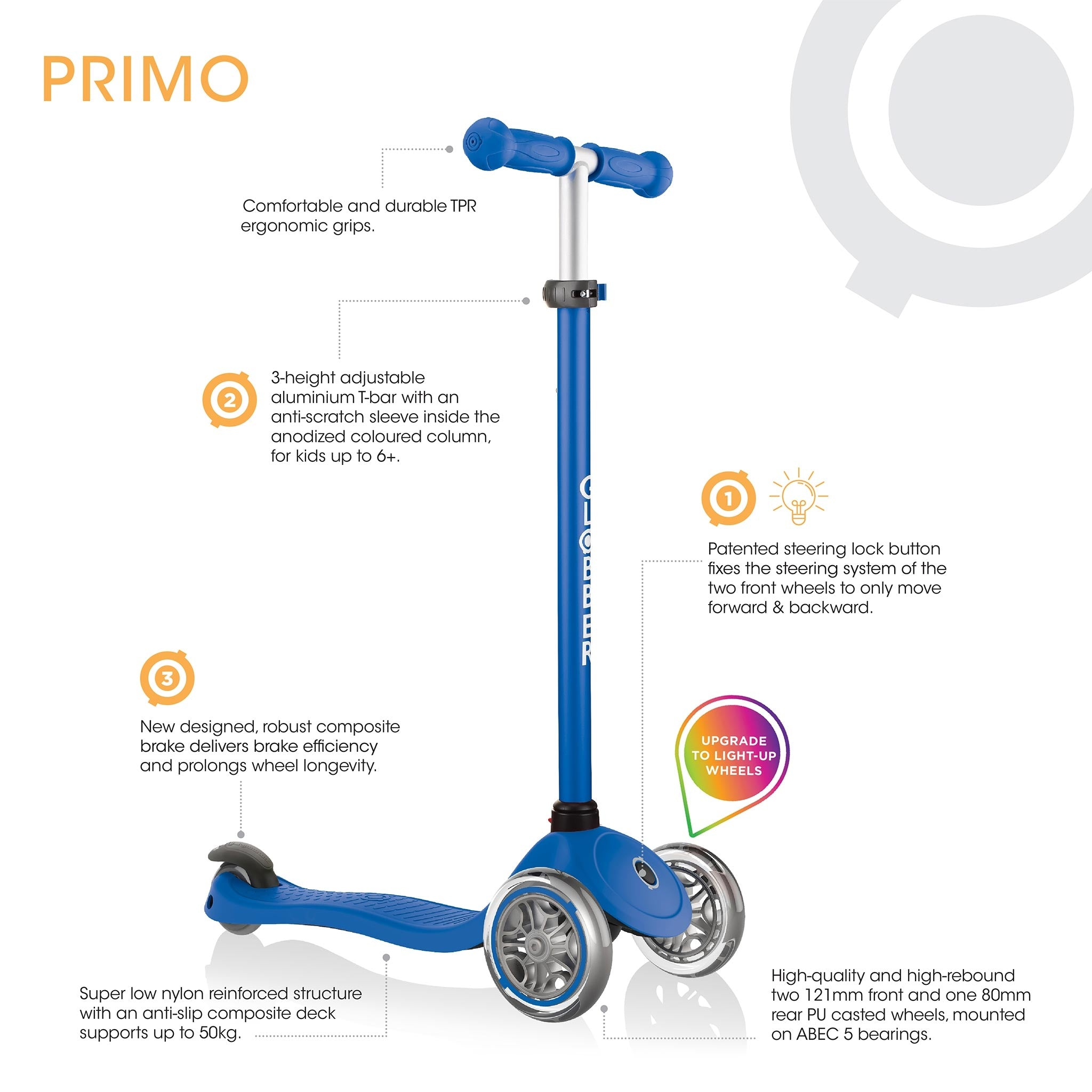 See all the features of the Globber Primo Light kids scooter at a glance
