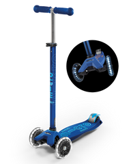 maxi micro deluxe LED three wheel kick scooter, navy blue, 3 quarter view