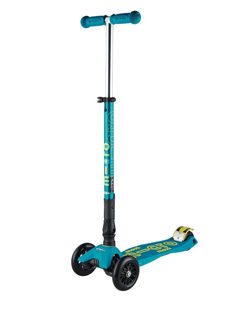 maxi micro deluxe foldable petrol green kick scooter three wheel