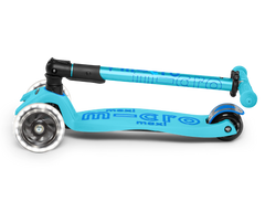 Micro Maxi LED Foldable Three Wheel kick scooter in Bright Blue, folded view