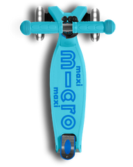 Micro Maxi LED Foldable Three Wheel kick scooter in Bright Blue, top view