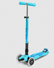 Micro Maxi LED Foldable Three Wheel kick scooter in Bright Blue