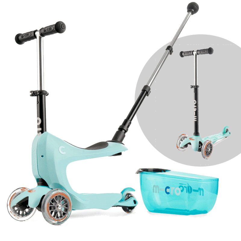 Micro Mini2go 3 wheel kick scooter for kids, in mint with seat and drawer removed