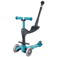 Micro Mini Deluxe 3in1 Plus convertible 3 wheel kick scooter with seat and push rod in colour Ice Blue