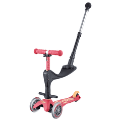 Micro Mini Deluxe 3in1 Plus convertible 3 wheel kick scooter with seat and push rod in colour Ruby Red