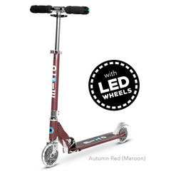 Micro Sprite LED two wheel kick scooter with light up wheels, in Autumn Red