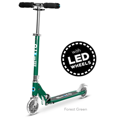Micro Sprite LED two wheel kick scooter with light up wheels, in Forest Green