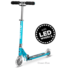 Micro Sprite LED two wheel kick scooter with light up wheels, in Ocean Blue