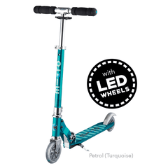 Micro Sprite LED two wheel kick scooter with light up wheels, in Petrol Green