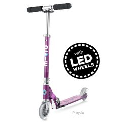 Micro Sprite LED two wheel kick scooter with light up wheels, in Purple
