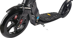 closeup of front wheel suspension on Micro Urban Black kick scooter