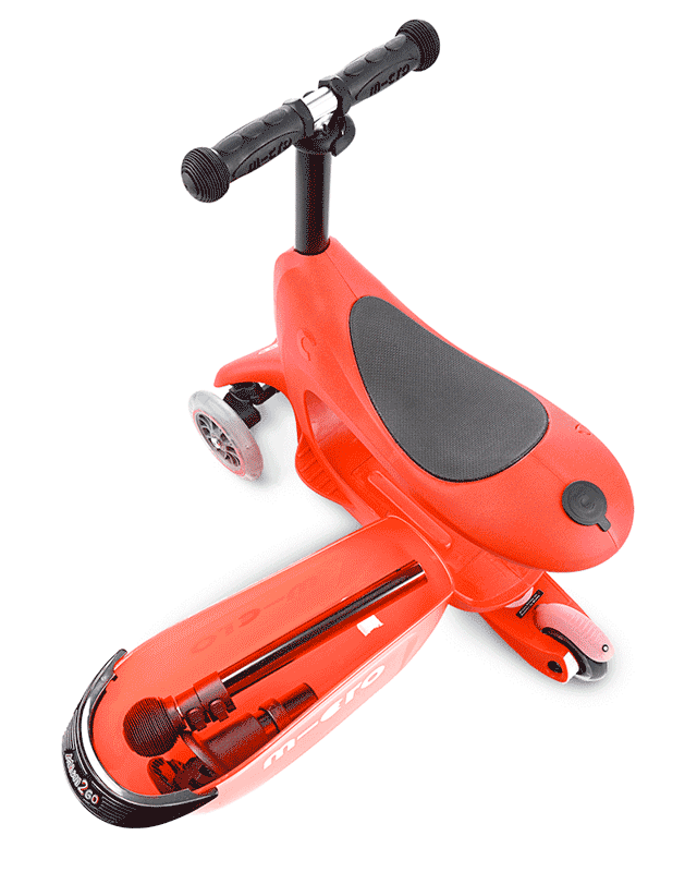Micro Mini2go 3 wheel convertible kick scooter for kids in red, showing drawer
