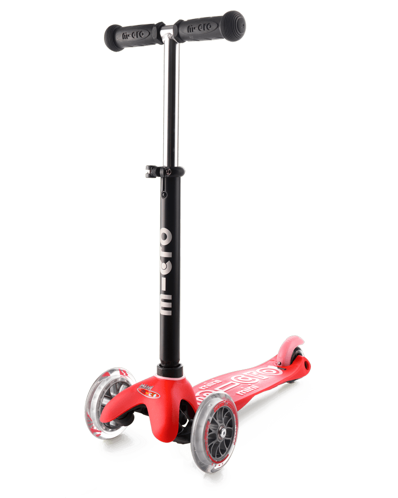 final mode of the Micro Mini2go 3 wheel kick scooter in red