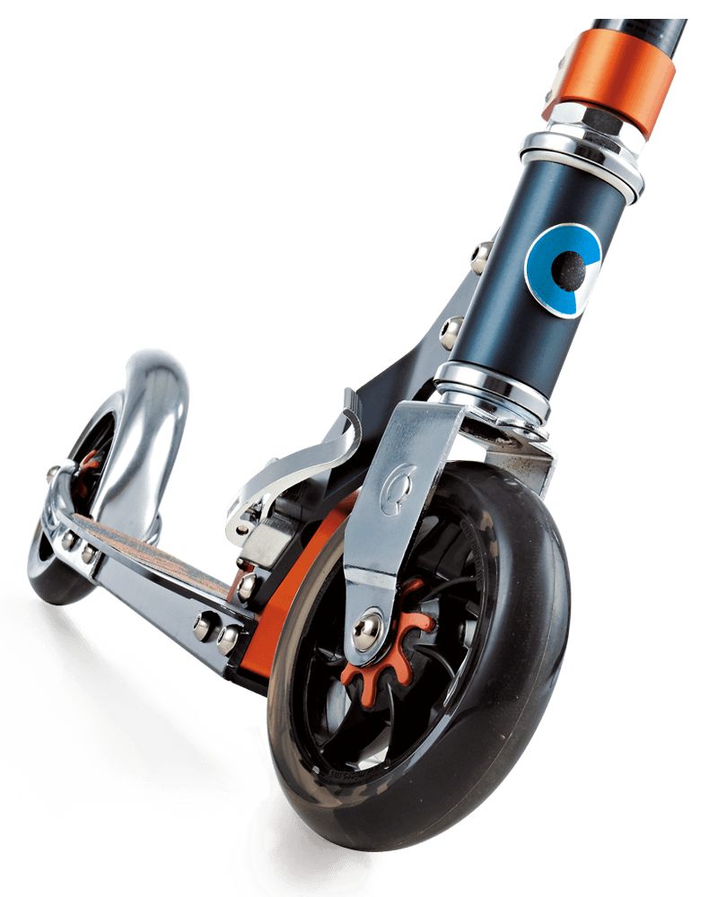 Closeup of front wheel of Micro Speed Plus kick scooter showing suspension core