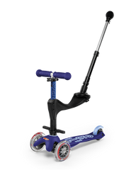 Micro Mini Deluxe 3in1 Plus convertible 3 wheel kick scooter with seat and push rod in colour  Blue