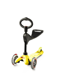 Micro Mini 3in1 Deluxe kick scooter with seat in yellow
