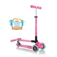 Globber Primo Lights foldable kick scooter, folded and unfolded view, in neon pink
